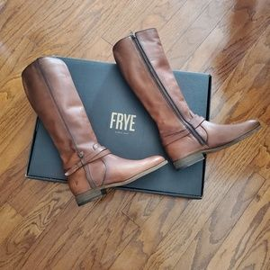 Frye Melissa Belted Tall Leather Boots in Cognac